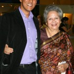 British Sari Story winner Nilesh Mistry with Baroness Flather, who opened the exhibition