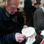 Rusty, aged 91, working at his design