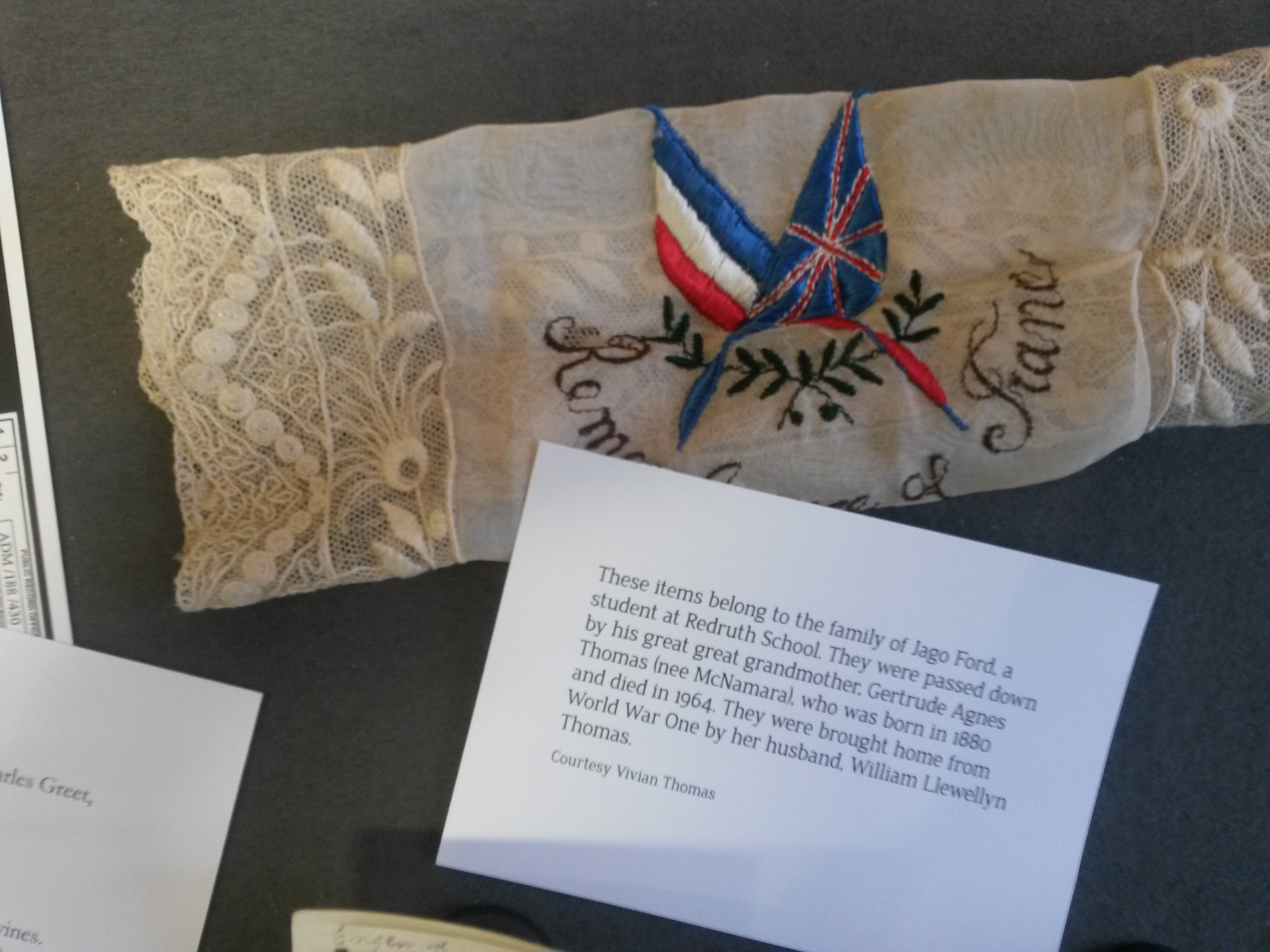 Embroidered handkerchief belonging to family of Jago Ford
