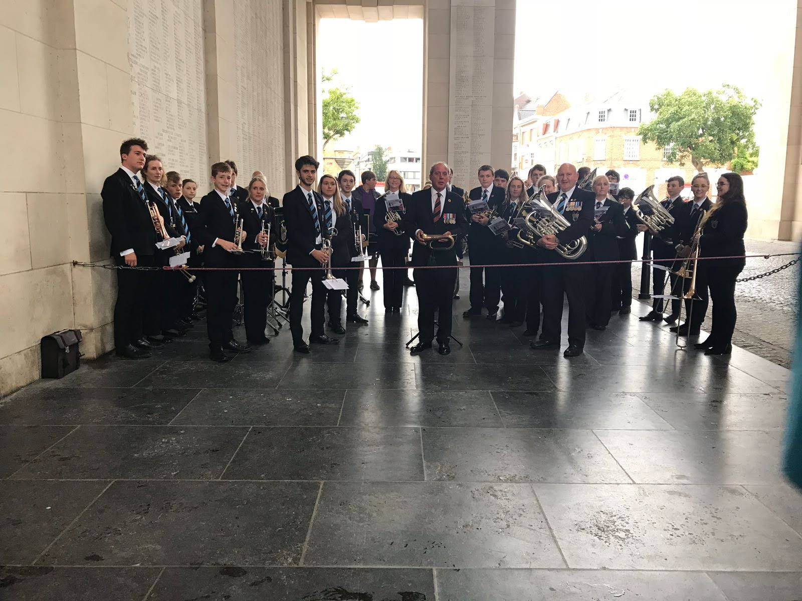 Band at Menin Gate Alan Pope with bugle