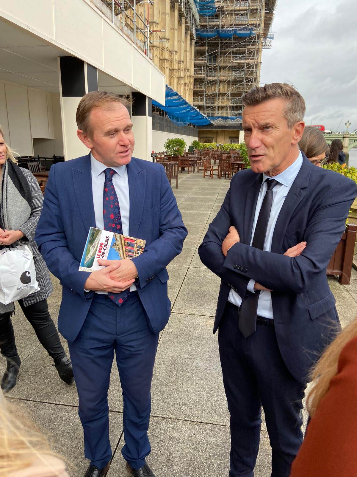 Camborne MP George Eustice with Estaires Mayor Bruno Ficheux